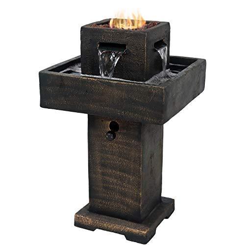 Sunnydaze Flaming Pillar Outdoor Water Fountain Propane Gas Fire Feature, 31-Inch