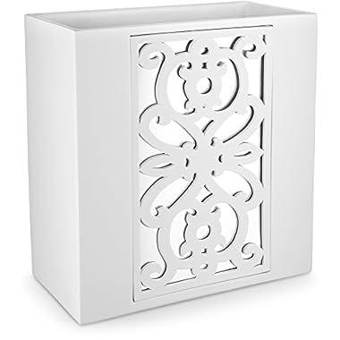 Dwellza Mirror Janette Bathroom Trash Can (10.63  x 5.71  x 11 ) Decorative Wastebasket- Resin Waste Paper Baskets Design- Space Friendly Bath Rubbish Trash Can (White)