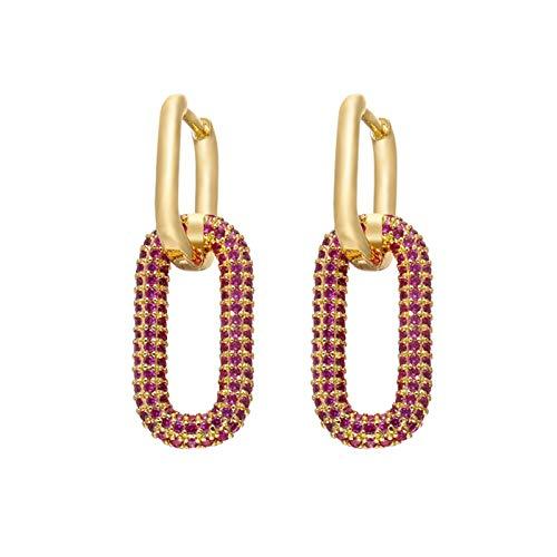 CQHUI Un par de aretes de aro para Mujer Joyería de Oro/Color Plata Rectangular aro de Aros para Regalos de cumpleaños de Fiesta (Metal Color : Gold Pink 2pcs)