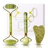 formizon jade roller viso e gua sha di giada kit, 3pcs naturale rullo di giada massaggiatore, strumenti di gua sha di massaggio, strumenti per il massaggio viso per collo e corpo (3pcs)
