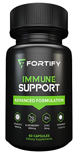Fortify Supplements - Immune Support with Elderberry 800mg, Vitamin C 1000mg, Vitamin D 5000 iu, Zinc, L-Lysine, Echinacea, Garlic & More | Immunity Booster and Cold Relief for Men & Women (60 Caps)
