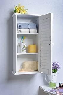 Homecharm-Intl 13.8x5.9x21.6-Inch Wall Storage Cabinet,Louvered Door,White(HC-057)