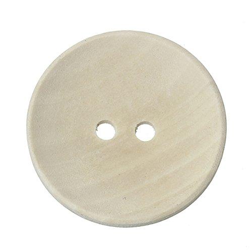 SiAura Material ® - 10 Stück Holzknöpfe, Natur, 2 Löcher, 30 mm
