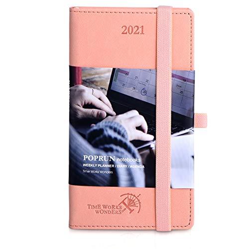 Kalender 2021 Wochenplaner ca. A6 Taschenkalender - Terminkalender 1 Woche 2 Seiten - Terminplaner Hardcover Veganem Leder, Wochenkalender Planer 2021, 9 x 14 cm, Rosa