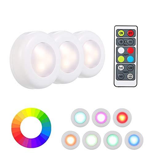 Luces para Gabinetes LED, VISLONE 3 Pack Luces Nocturnas LED, Luz de Armario Inalámbrica con 2 Control Remoto, 16 Colores Brillo y 3 Modos de Iluminación, Luz de Noche para Armario Pasillo