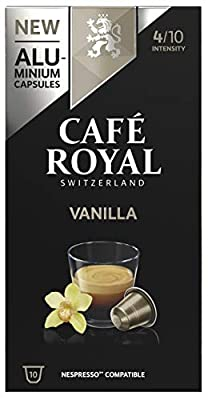Cafe Royal Vanilla Flavoured Edition Nespresso (R)* 100 Compatible Aluminium Coffee Pods, Strength 4/10, 10x10 packs