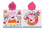 Carbotex Peppa Wutz Badeponcho 50x115 Mädchen Kapuzenhandtuch Poncho Baumwolle Peppa Pig Kinder Baby rosa