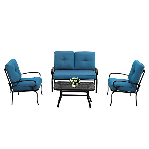Oakmont Outdoor Furniture Patio Conversation Set Loveseat, 2 Chairs, Coffee Table with Cushion, Lawn Front Porch Garden, Metal Chair Set Wrought Iron Look (Peacock Blue)