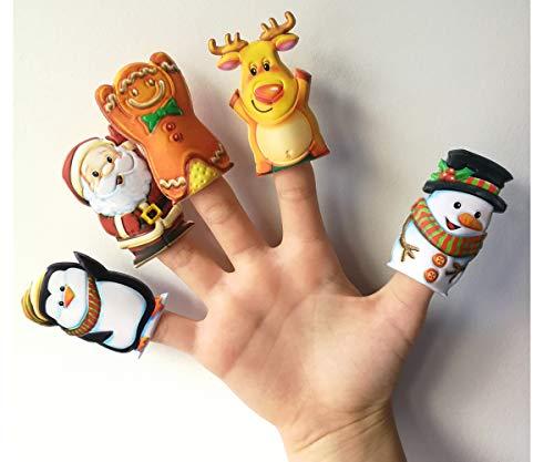KP KINPARTY ® - 10 Marionetas de Dedos Navidad Papa Noel Reno Muñeco de Nieve