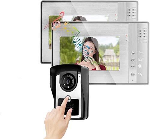 Videocitofono Bifamiliare 2 Fili, Sistema di Videocitofono HD da 7 Pollici con Sistema Di Interfono HD con 12 Suoni a Corde, Visione Notturna, Monitoraggio, Vivavoce e Obiettivo CCD per Ville(EU)