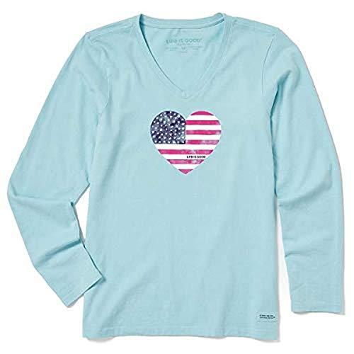 Life is Good Women's Crusher Graphic Long Sleeve T-Shirt, Watercolor Flag, Beach Blue, Medium