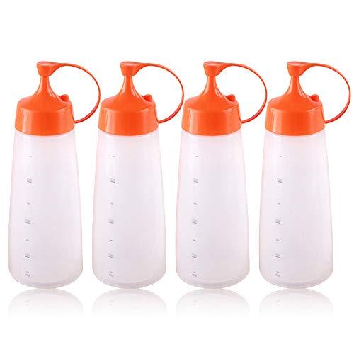 XGzhsa Biberones cocina, botellas exprimibles con tapas, 4 botellas exprimibles de plástico de grado alimenticio de 400 ml para condimentos de cocina, salsa de tomate y aceite de olive