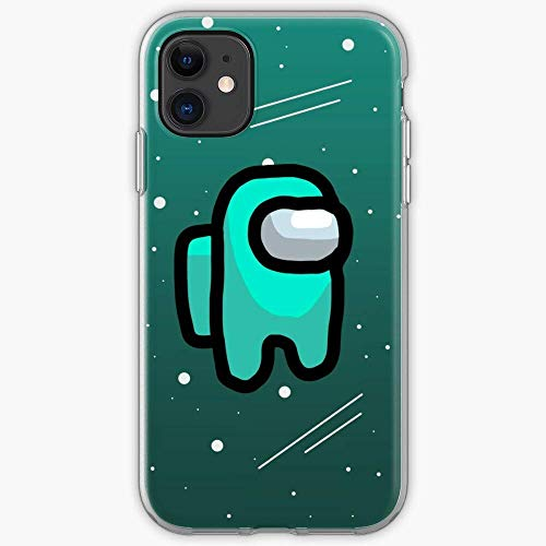 TPU Pure Clear Telefono Carcasa Among Cyan Games Us Online Multiplayer Social Deduction Game Compatible with iPhone 11 12 Pro MAX 6/6s 7/8 Plus X/XS XR XSMAX SE 2020 Shockproof Transparent Cubrir