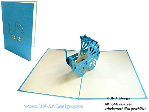 Lin de Pop up 3D Cartes de vœux Félicitations cartes cartes de vœux Cartes Naissance Bébé Naissance Cartes, Landau Garçon