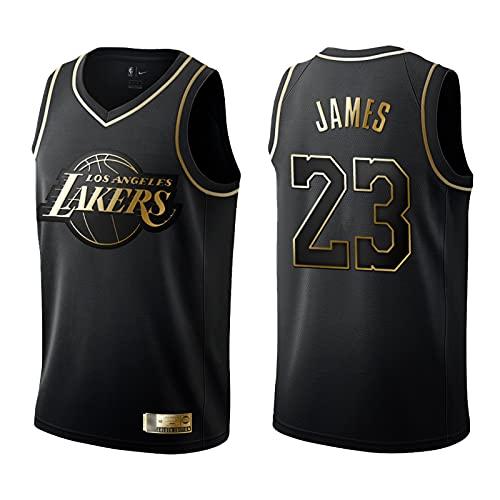 XFDYJ Camiseta de Baloncesto Hombres James # 23 Legendary Black Gold Pattern Retro Fitness Chaleco Deportivo Top,XL