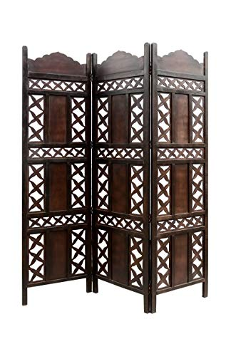 Artesia Handcrafted Wodoen Partition/Room Divider / Wooden Screen 3 Panel (L-54 in x W- 0.75 in x H-72 in)