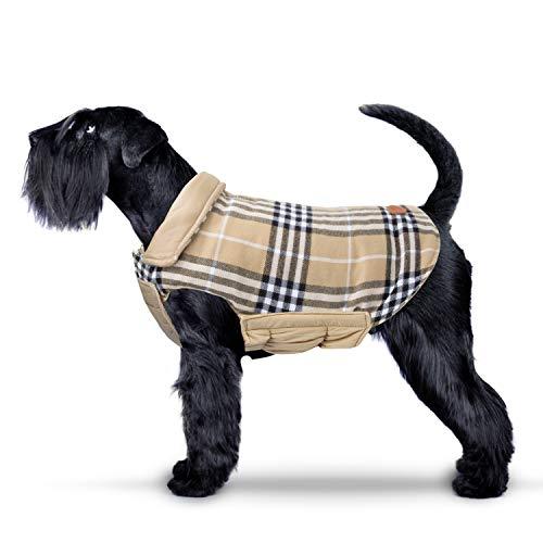 IREENUO Hund umkehrbar Schottenkaro Mantel Herbst Winter warme gemütliche Weste britischen Stil Hund gefütterte Jacke für kleine mittlere große Hunde (M,Beige)