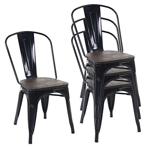 Mendler 4X Stuhl HWC-A73 inkl. Holz-Sitzfläche, Bistrostuhl Stapelstuhl, Metall Industriedesign stapelbar ~ schwarz