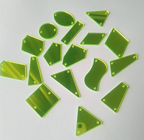 Naai Op Neon Groen Acryl Spiegel Diamante Strass Spiegel Kralen Crystal Flat Terug met Gat voor DIY Kostuums Bruiloft Jurk Kleding mix shapes Neon Groen