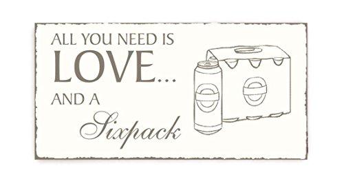 SCHILD Dekoschild « All you need is LOVE and a SIXPACK » Vintage houten schild deurschild Bier Heren Home Accessoires