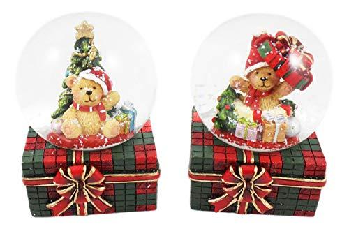 Creation Gross 2X Schneekugel auf Geschenkbox mit Teddybär, Weihnachtsbaum und Geschenken Ø45mm H.: 6cm
