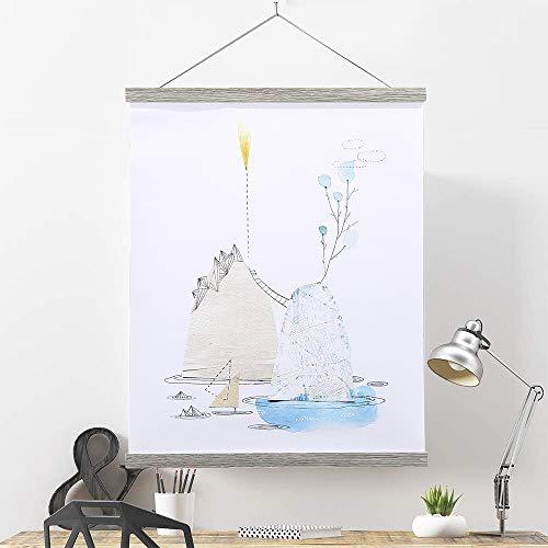 Benjia Magnetic Poster Hanger, 11x17 11x14 11x22 Poster Frame Wood Wooden Magnet Print Posters Dowel Scroll Hanger Hangers Hanging Kit for Walls Map Canvas Artwork (Grey, 11')