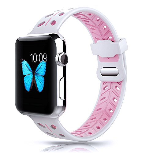 YOUKEX Apple Watch Band 42mm, Soft Silicone Replacement Strap Wristband with Oval Ventilation Holes Double Clasp for iWatch Series 3 Series 1 Series 2 Nike+ Edition Women Men (White/Pink)