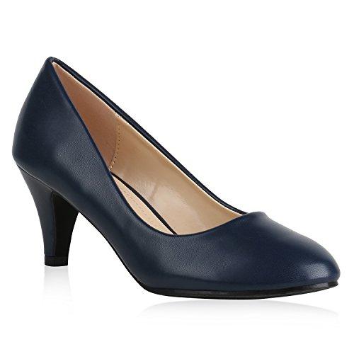 Klassische Damen Pumps Basic Leder-Optik Schuhe Stiletto Mid Heels 159543 Dunkelblau Camargo 39 Flandell