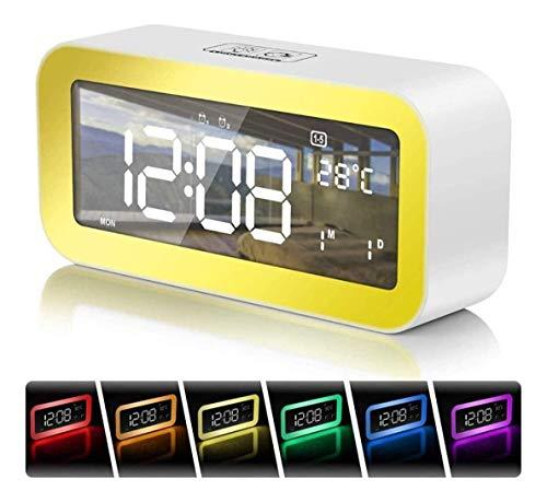 Despertador despertador despertador de despertador Amanecer / Puesta de sol Simulación Lámpara de noche con 25 sonidos con luz táctil con luz regulable LED Luz de humor para niños Dormitorio de dormit