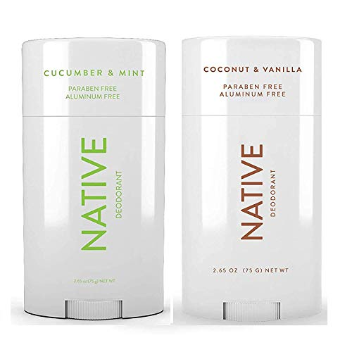 Native Deodorant - Natural Deodorant For Women and Men - 2 Pack - Aluminum Free, Free of Parabens - Contains Probiotics - Coconut & Vanilla And Cucumber & Mint