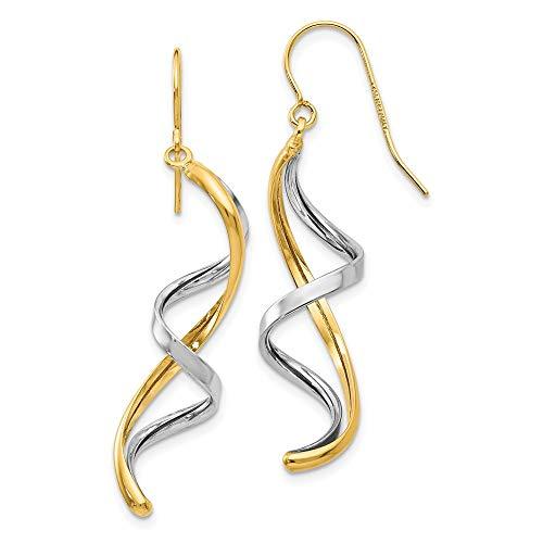 14k Two Tone Yellow Gold Drop Dangle Chandelier Earrings Fine Jewelry For Women Gifts For Her