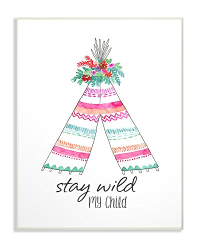 De Stupell Home Decor collectie Stay Wild My Tent wandbord kunst, hout, meerkleurig, 25,4 x 64,52 x 38,1 cm