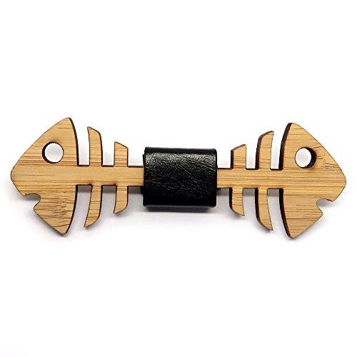 BOBIJOO Jewelry - Hombre pecador de Pajarita Madera bambú Pescado Doble Cuero