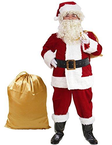 ADOMI Santa Suit 10pc. Plush Adult Costume Red S