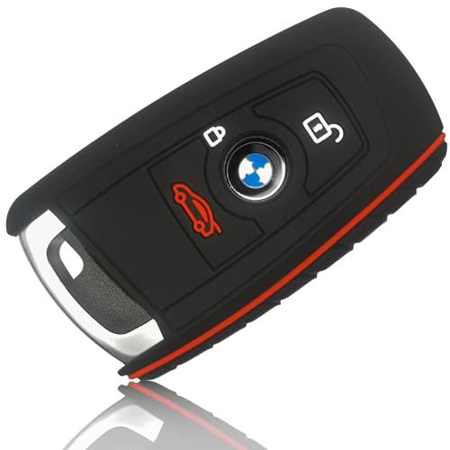 FoilsAndMore Hülle kompatibel mit BMW 3-4-Tasten Autoschlüssel (nur Keyless-Go) - Silikon Schutzhülle Cover Schlüsselhülle in Schwarz Rot