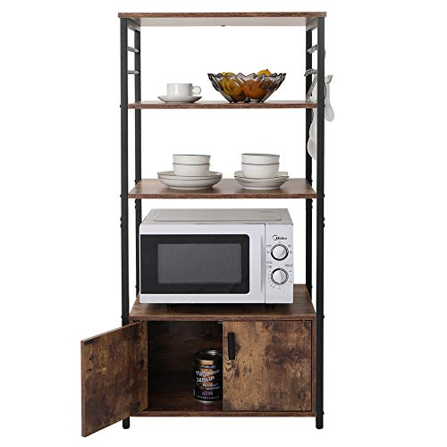 Iwell Kitchen Baker's Rack with 1 Cabinet and 8 Hooks, 4-Tier Utility Storage Shelf, Microwave Oven Stand, Industrial Storage Cabinet, Bookshelf for Living Room, Bathroom Cabinet ZWJ004F