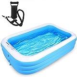 Piscina per bambini, Durevole Casalinga Estate Blu Famiglia Bagno Nuoto Rettangolo Gonfiabile Piscina 1200 x 900 x 400 mm. taglia unica Blu