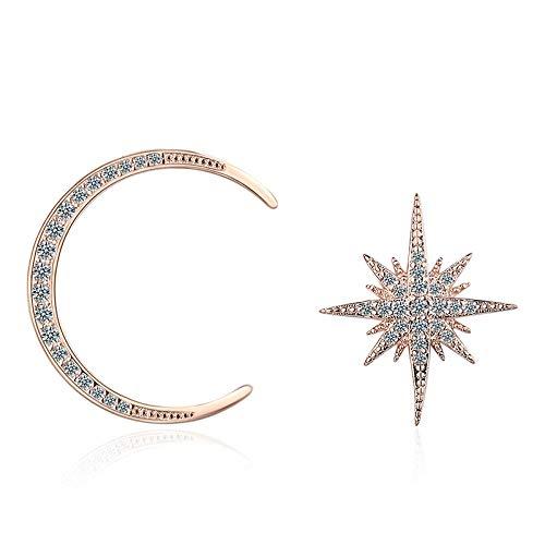 Pendientes Mujer Fashion Jewelley Asymmetry 925 Pendientes De Botón De Declaración De Luna De Cristal De Plata Esterlina-Rose_Gold