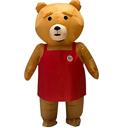 Inflatable Teddy Bear Fat Body Suit Blow Up Fancy Dress Funny Costume Halloween Party (Brown)