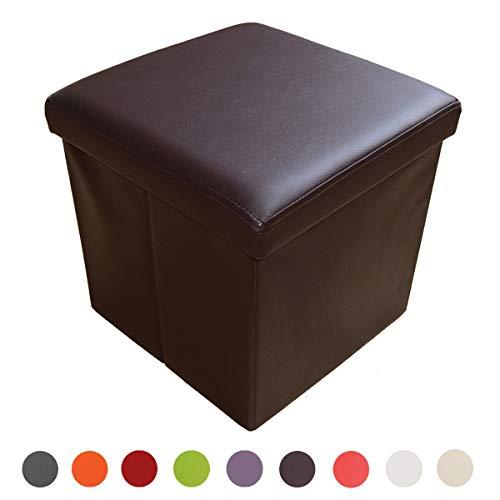 Style home Sitzbank Sitzhocker Aufbewahrungsbox mit Stauraum faltbar belastbar bis 300 kg, Kunstleder, 38 x 38 x 38 cm (Braun)
