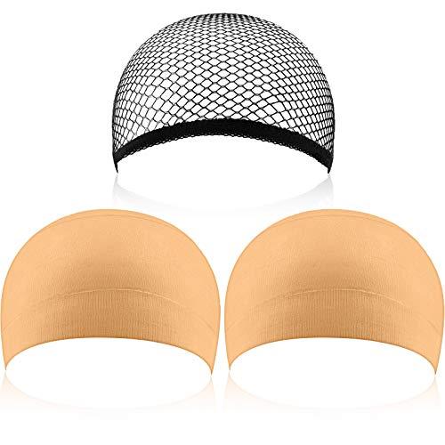 Perücke-Caps Unterziehhaube Haarnetz Perückekappe, 3er-pack, Schwarz