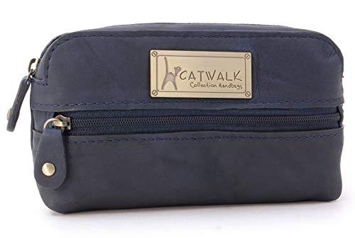 CATWALK COLLECTION - Estuche compacto para cámara - Cuero genuino - Bolsa de accesorios para bolso - Bolso de viaje pequeño - Multiuso - SAVANNAH - Azul