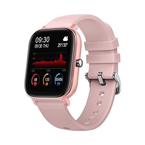 DCU TECNOLOGIC Smartwatch quadrato curved glass braccialetto di attività IP67 con cardiofrequenzimetro e monitoraggio della pressione sanguigna, Rosa