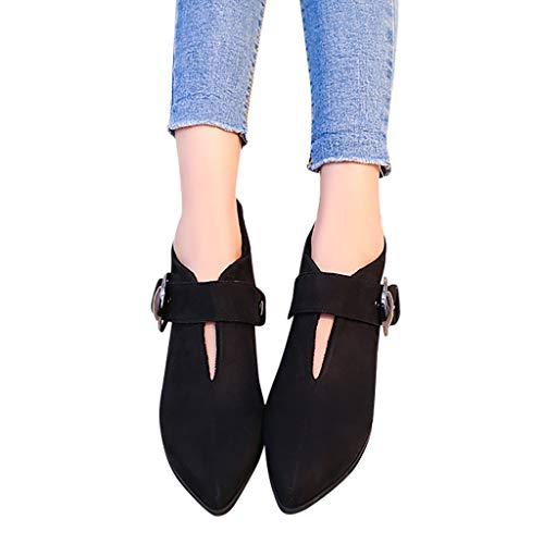 Ankle-Boots Damen Stiefeletten Flach Spitze Kurzstiefel mit Schnalle, Frauen Wildleder Cowboystiefel Bequem Halbstiefel Celucke (Schwarz, 40 EU)