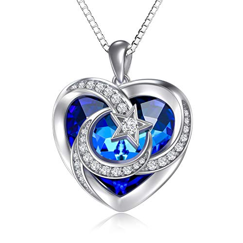TOUPOP Heart Necklace for Women Moon and Star Necklace Sterling Silver Pendant Necklace with Heart Crystal Jewellery Gifts for Women Teen Girls Friend Birthday Mum (Blue Heart Crystal)