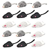 FOROREH 15 Piezas de Ratón de Juguete para Gatos, Ratón de Piel, Ratón Inalámbrico, Juguetes de Campana, Ratones, Juguete para Ratas, Actividad Ideal para Gatos