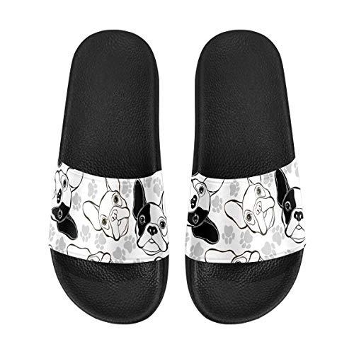 InterestPrint French Bulldog and Paw Women's Lightweight Slide Sandals,House Slippers 9 B(M) US
