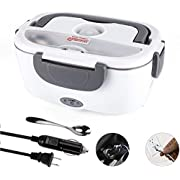 Electric Lunch Box for Car and Home 110V & 12V 40W, Stainless Steel Portable Food Warmer Heater 1.5L, Stainless Steel Spoon & fork and 2 Compartments Included
