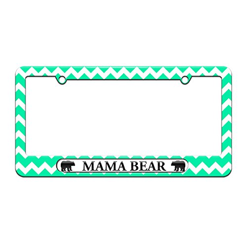 Graphics and More Mama Bear - License Plate Tag Frame - Teal Chevrons Design