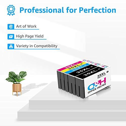 OFFICE HELPER 35 35XL Cartuchos de Tinta Compatibles, Tintas Compatibles para Epson Workforce Pro WF-4740 4730DTWF WF-4725 4720DWF, Multipack 4-Colours T3596 (2 Negro, 1 Cian, 1 Magenta, 1 Amarillo)